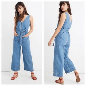 Madewell Denim Sleeveless Zip Front Jumpsuit